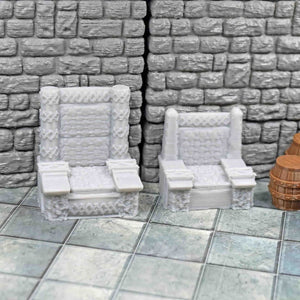 Dwarven Throne and Chair - FDM Print - Hayland Terrain