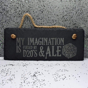 10 x 4 Hanging Slate - D20s and Ale - Room Decor - GriffonCo