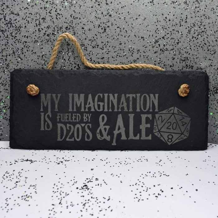"Hanging Slate 10"" x 4"" - D20's and Ale"