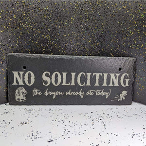 10 x 4 Hanging Slate - No Soliciting Dragon - Room Decor - GriffonCo