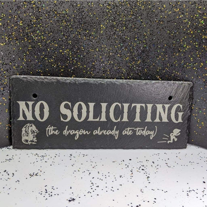 "Hanging Slate 10"" x 4"" - No Soliciting Dragon"