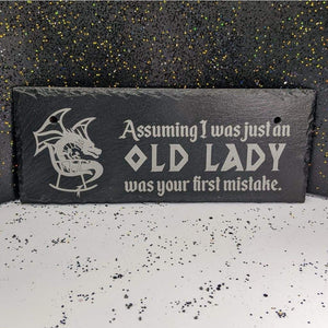 10 x 4 Hanging Slate - Old Lady - Room Decor - GriffonCo