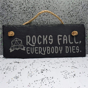 10 x 4 Hanging Slate - Rocks Fall d1 - Room Decor - GriffonCo