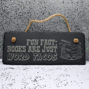 10 x 4 Hanging Slate - Word Tacos - Room Decor - GriffonCo