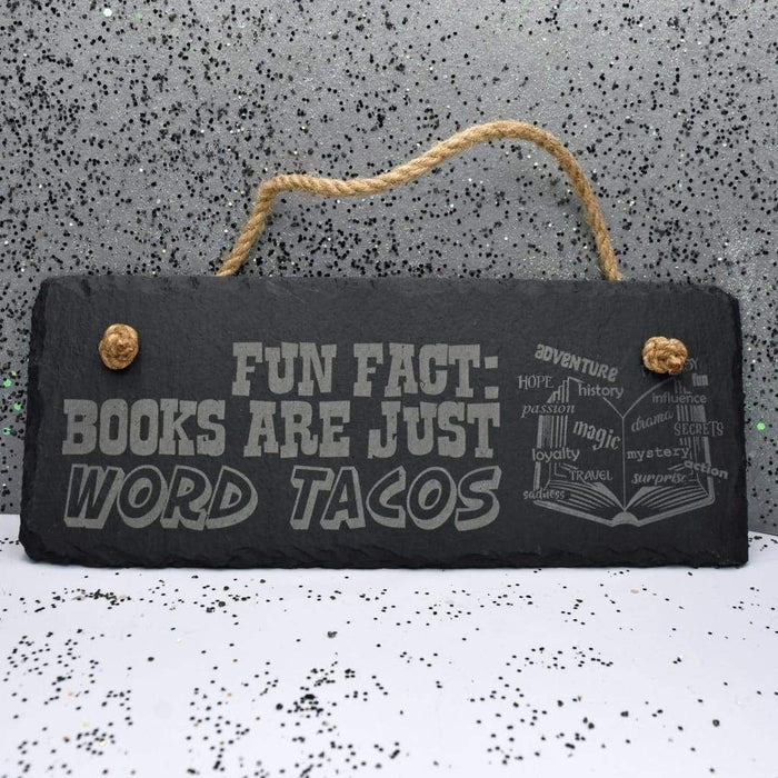 "Hanging Slate 10"" x 4"" - Word Tacos"
