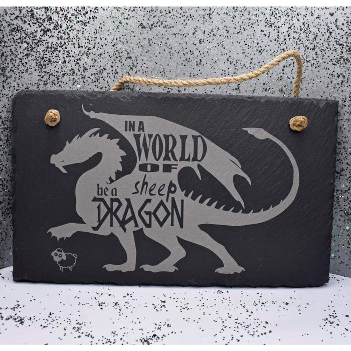 "Hanging Slate 11 3/4"" x 7"" - Sheep Be a Dragon"