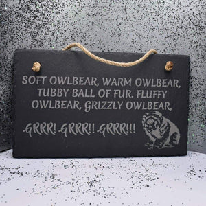 11 3/4 x 7 Hanging Slate - Soft Owlbear - Room Decor - GriffonCo