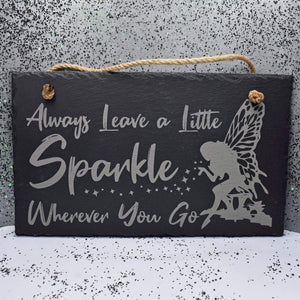 11 3/4 x 7 Hanging Slate - Sparkle - Room Decor - GriffonCo