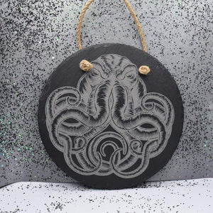 7 3/4 Round Hanging Slate - Cthulhu - Room Decor - GriffonCo