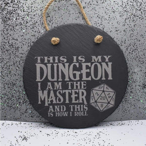 7 3/4 Round Hanging Slate - Dungeon Master - Room Decor - GriffonCo