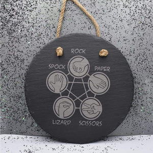 7 3/4 Round Hanging Slate - Lizard Spock - Room Decor - GriffonCo