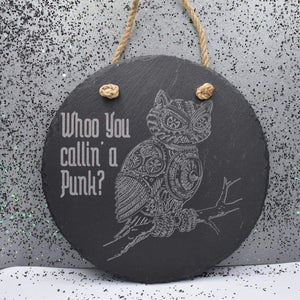 7 3/4 Round Hanging Slate - Who Punk - Room Decor - GriffonCo
