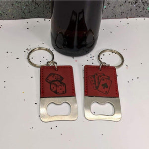 Keychain Bottle Opener - Dice - Keychain Bottle Opener - Dice - 21st Birthday, Bar Accessories, Board Game, Bottle Opener, Casino, Dice Game, Gambling, Game Room, Gift, In a Pocket, Keychain, Keychain Bottle Opener, Laser Engraved, Leatherette, Tabletop Gaming