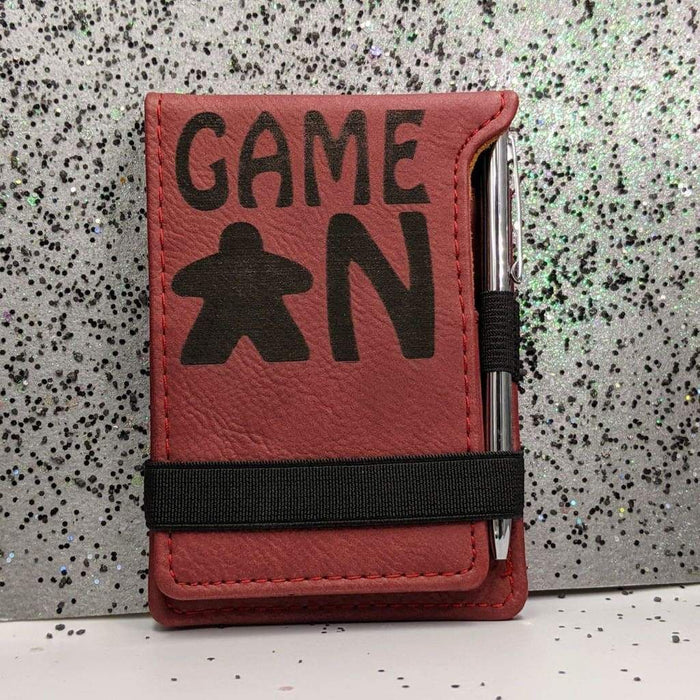 Leatherette Mini Notepad with Pen - Game On - Meeple