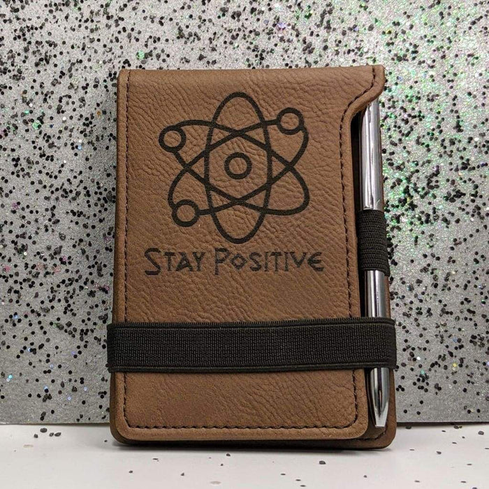 Leatherette Mini Notepad with Pen - Stay Positive