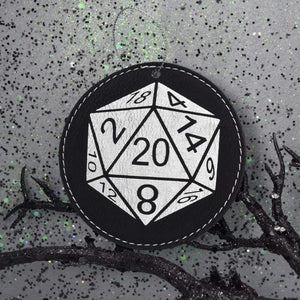 Ornament - D20 - Ornament - D20 - Christmas, Dungeons and Dragons, Gift, Laser Engraved, Laser Ornament, Leatherette, Ornament, White Elephant
