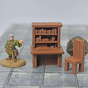 Miniature Furniture - Desk and Chair Set - FDM Print - Fat Dragon Games & EC3D / Heros Hoard