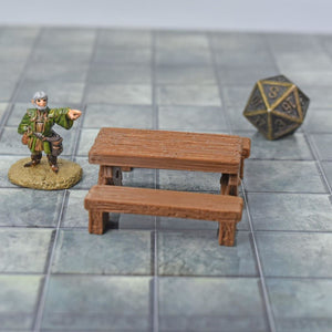 Miniature Furniture - Table with Benches - FDM Print - Fat Dragon Games