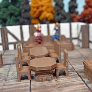 Miniature Furniture - Wooden Table and Chairs - FDM Print - Hayland Terrain