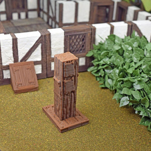 Miniature Wood Notice Board Post - FDM Print - Hayland Terrain