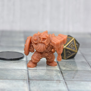 Resin Miniature - Dwarf Soldier with Shield