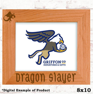 Dragon Slayer Picture Frame - Dragon Slayer Picture Frame - Alder Wood, Baby Shower, Dragon, Fantasy, Father's Day, Gift, Laser Engraved, Mother's Day, New Dad, Photo Frame, Room Decor
