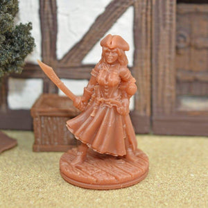 Resin Miniature - Female Pirate Captain - Resin Print - EC3D / Heros Hoard