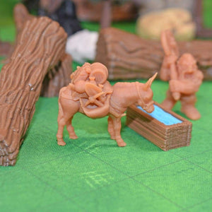 Resin Miniature - Miner Pack Mule - Resin Print - Black Scroll Games