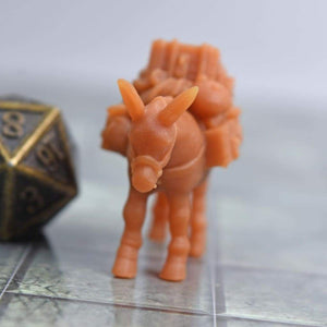 Resin Miniature - Traveler Pack Mule - Resin Print - Black Scroll Games