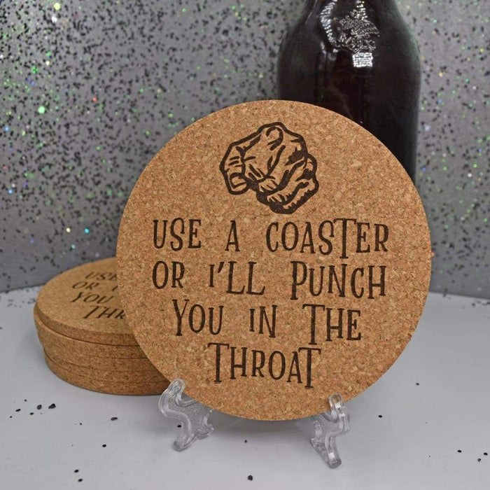 Round Cork Coaster Set - Punch In Throat