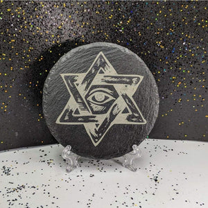 Round Slate Coaster - All-Seeing Eye - Table Shield - GriffonCo