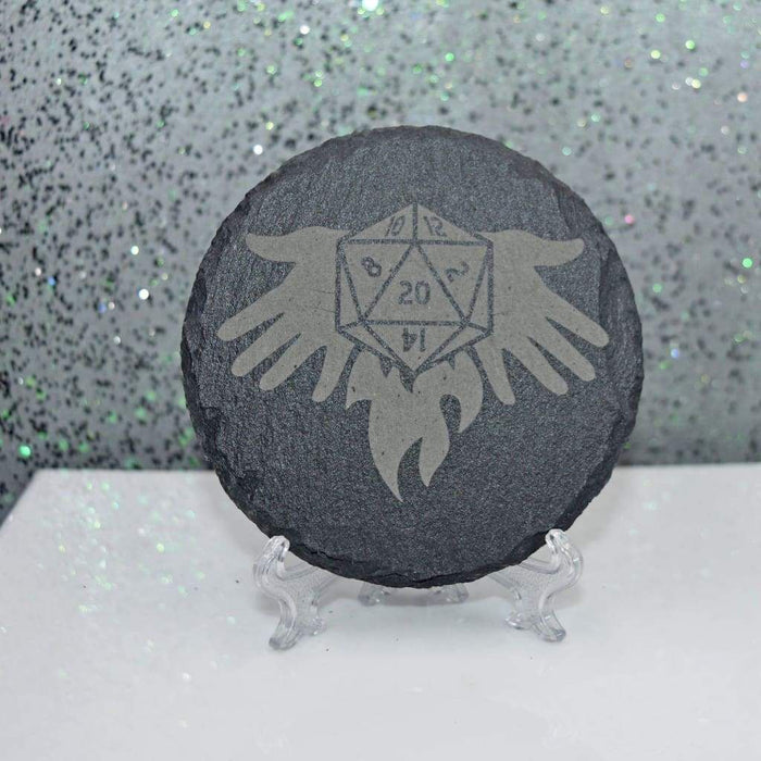 Round Slate Coaster - D&D Cleric