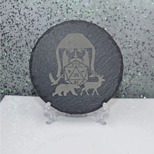 Round Slate Coaster - D&D Druid - Table Shield - GriffonCo