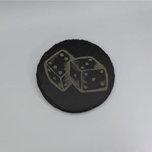 Round Slate Coaster - Dice - Table Shield - GriffonCo