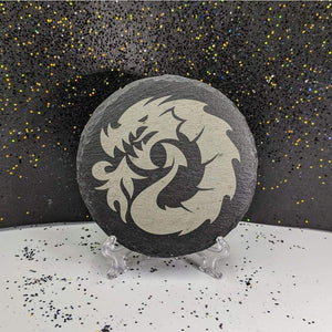 Round Slate Coaster - Dragon Fire - Table Shield - GriffonCo
