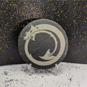 Round Slate Coaster - Dragon Tail - Round Slate Coaster - Dragon Tail - Bar Accessories, Coaster, Dragon, Fantasy, Gift, Home Base, Kitchen View, Laser Engraved, Slate, Slate Coaster, Table Shield