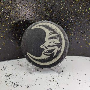 Round Slate Coaster - Moon - Table Shield - GriffonCo