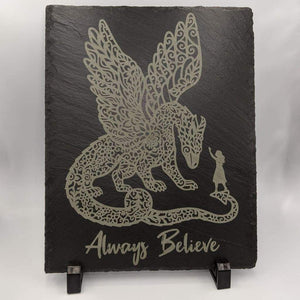 8 x 10 Slate Plaque with Feet - Believe - Room Decor - GriffonCo