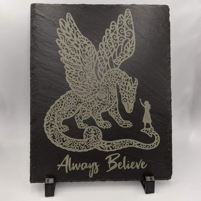 "Slate Plaque with Feet 8"" x 10"" - Believe"