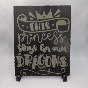 8 x 10 Slate Plaque with Feet - This Princess - Room Decor - GriffonCo