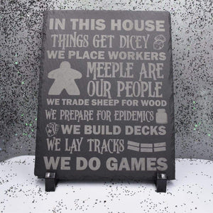8 x 10 Slate Plaque with Feet - We Do Games - Room Decor - GriffonCo