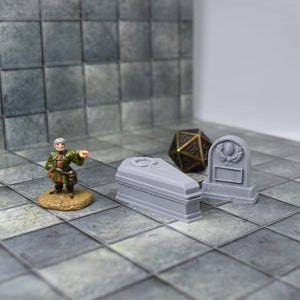 Tombstone Mimic Miniatures - Tombstone Mimic Miniatures - 3D Printed, Fantasy, FDM Miniature, FDM Terrain, Graveyard, Lost Adventures, Mimic, Mimics & Traps, PLA, Ruins, Tomb, Trap