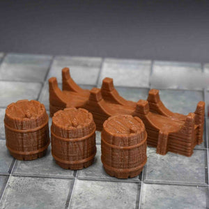 Village - Kegs and Keg Stand - FDM Print - Fat Dragon Games