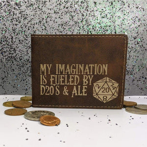 Wallet Bifold - My Imagination is Fueled by D20s and Ale - Accessories - GriffonCo