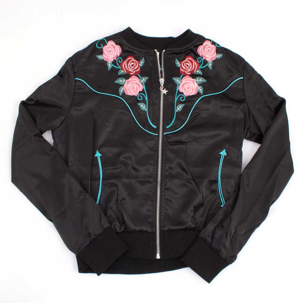 Roper Satin Floral Bomber Jacket WOMEN - Clothing - Outerwear - Jackets ROPER APPAREL & FOOTWEAR Teskeys