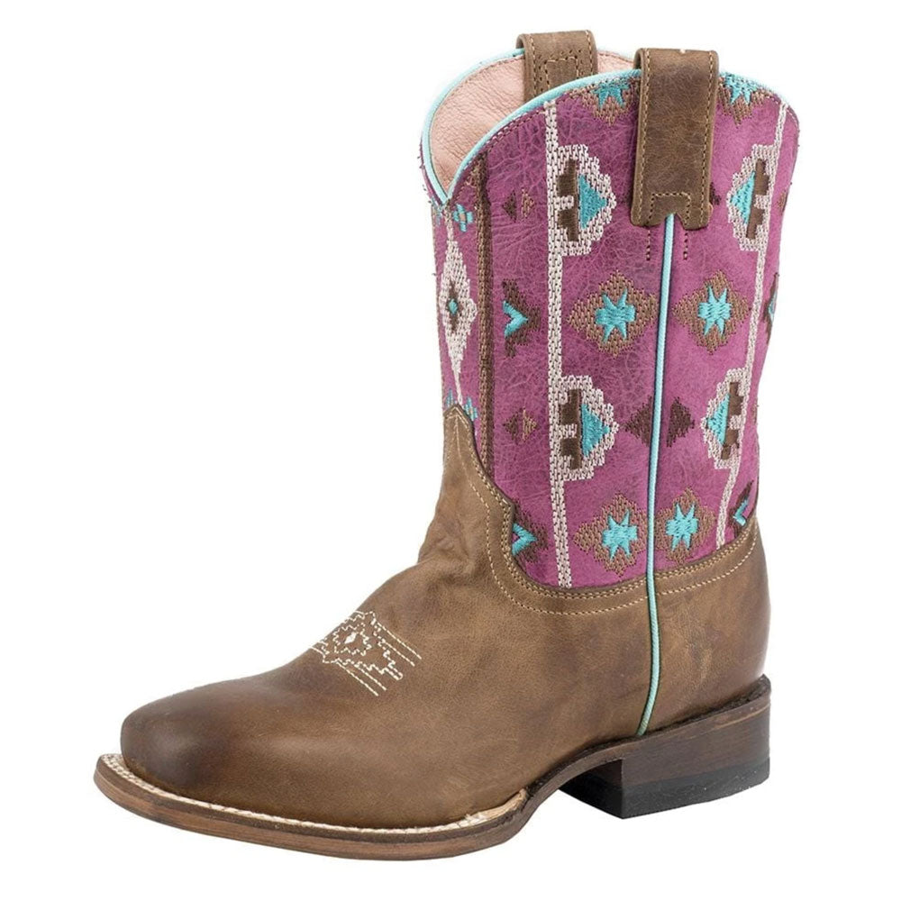 Kids Roper Arizona Aztec Pink Cowgirl Boot KIDS - Footwear - Boots ROPER APPAREL & FOOTWEAR Teskeys
