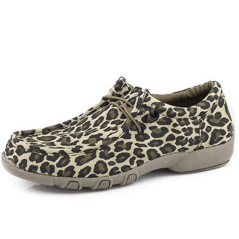 Roper Women's Tan Canvas Chillin Leopard Slip-On Shoes WOMEN - Footwear - Casuals ROPER APPAREL & FOOTWEAR Teskeys