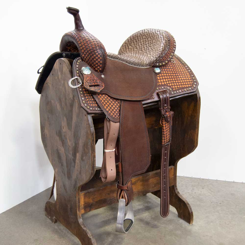 "13.5"" DOUBLE J POZZI PRO BARREL SADDLE Saddles - New Saddles - BARREL DOUBLE J SADDLERY Teskeys"