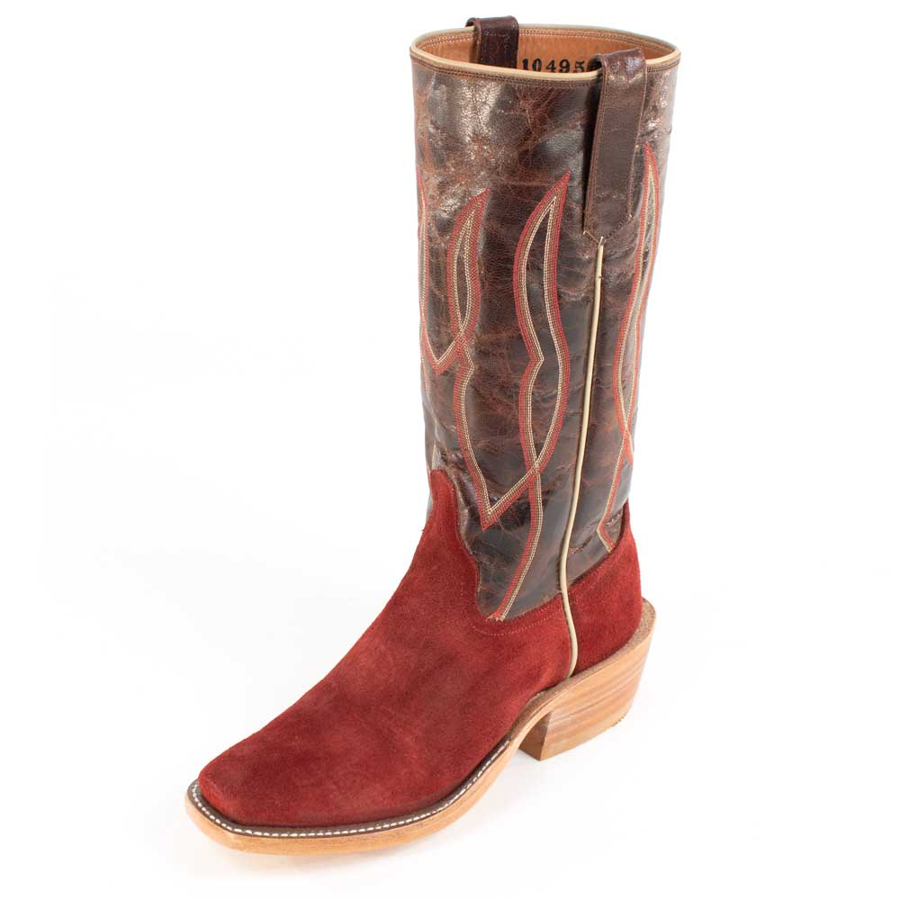 Rios of Mercedes Hot Red Waxy Roughout Boot MEN - Footwear - Western Boots RIOS OF MERCEDES BOOT CO. Teskeys