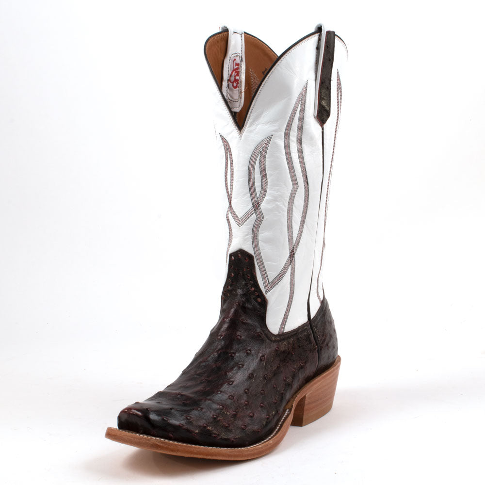 Rios of Mercedes Black Cherry Ostrich Boot MEN - Footwear - Exotic Western Boots RIOS OF MERCEDES BOOT CO. Teskeys